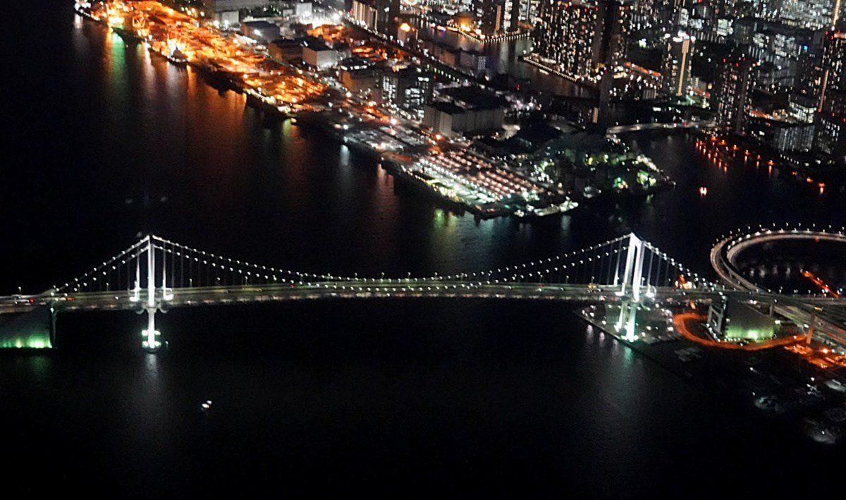 Tokyo Helicopter Sightseeing over Rainbow Bridge near Odaiba