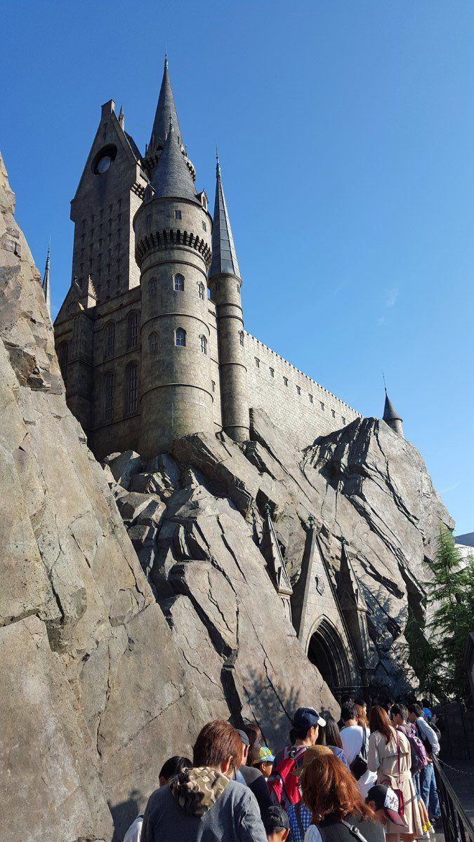 Looking up at Hogwarts Castle