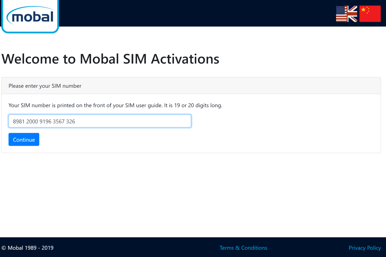 Mobal Voice + Data Activation Process Step 1