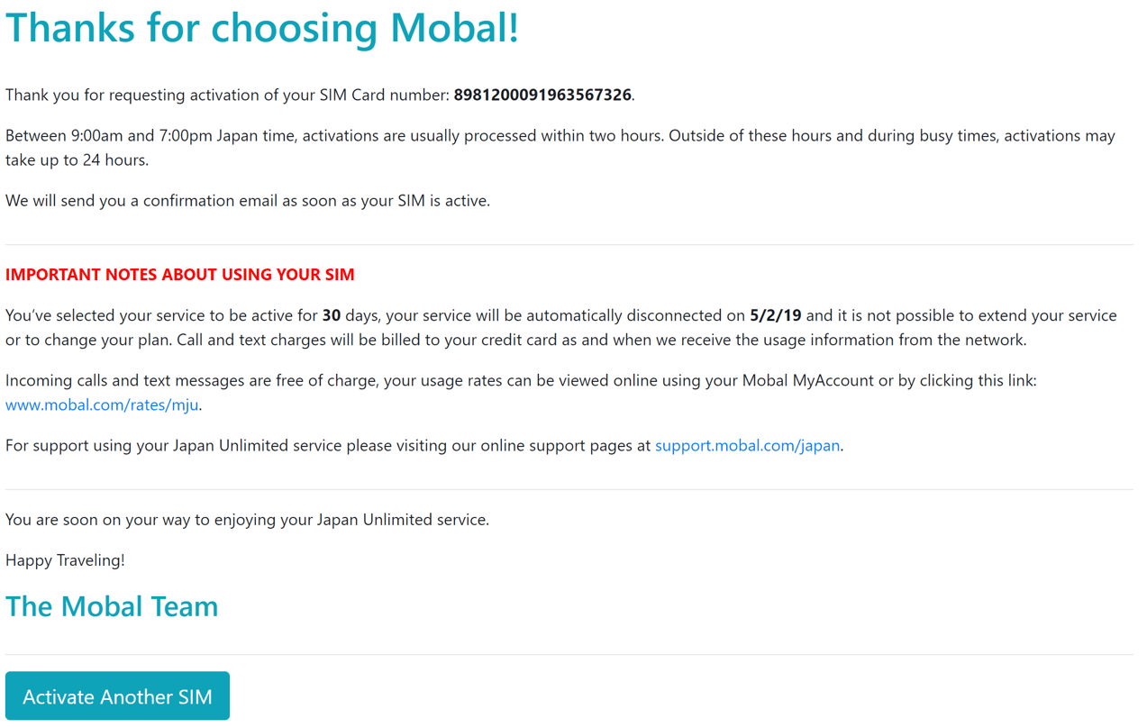 Mobal Voice + Data Activation Process Step 9