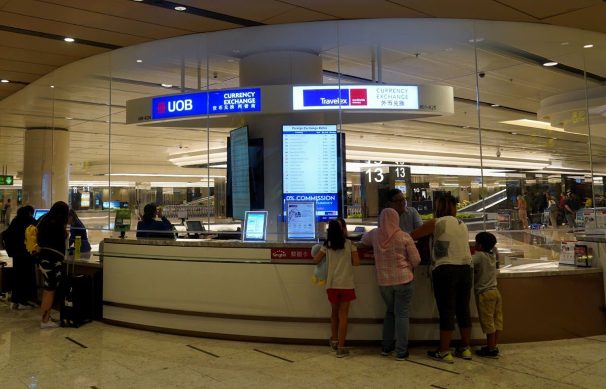 UOB Currency Exchange Counter at Changi Airport in Singapore