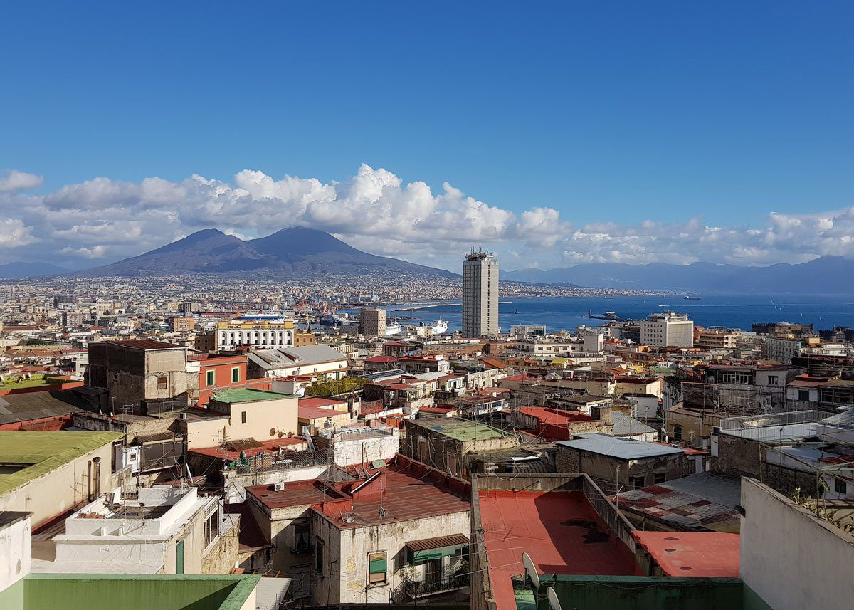 View over Naples with Mount Vesuvius