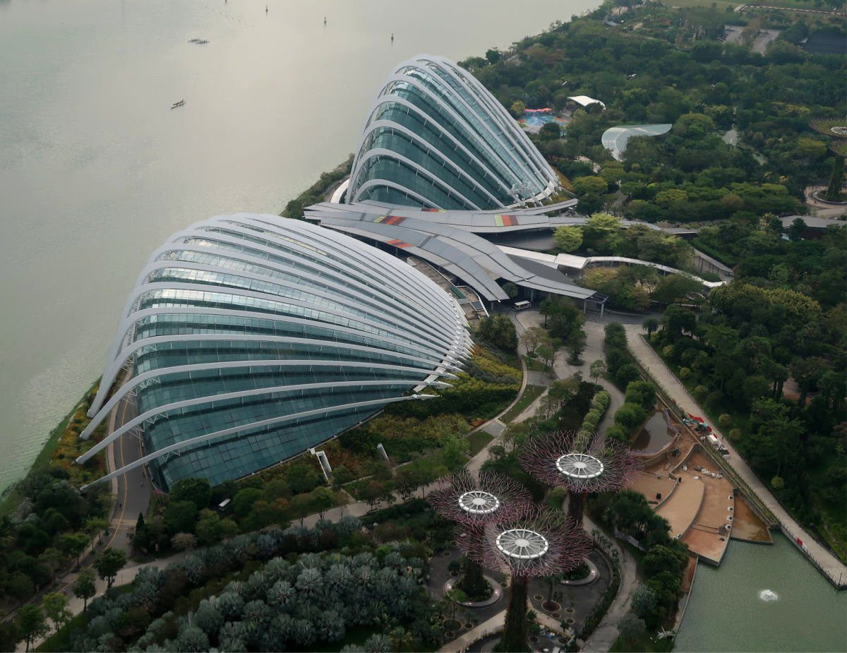 Views of Gardens by the Bay from the Observation Deck on Marina Bay Sands in Singapore
