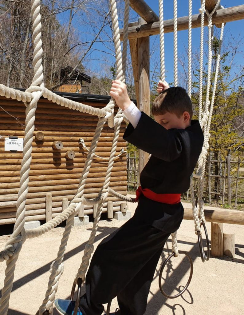 Our Son Tackling the Obstacles at Oshino Ninja Village
