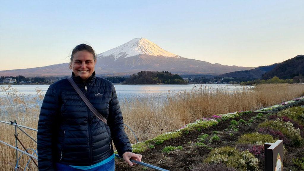 View of Mt Fuji at sunset from Oishi Park on Lake Kawaguchi