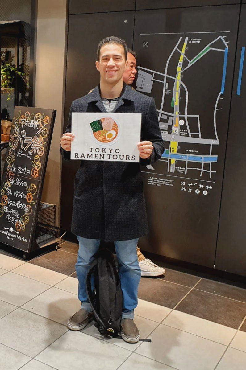 Meeting with Frank Striegl from Tokyo Ramen Tours at Naka-Meguru Station near Shibuya