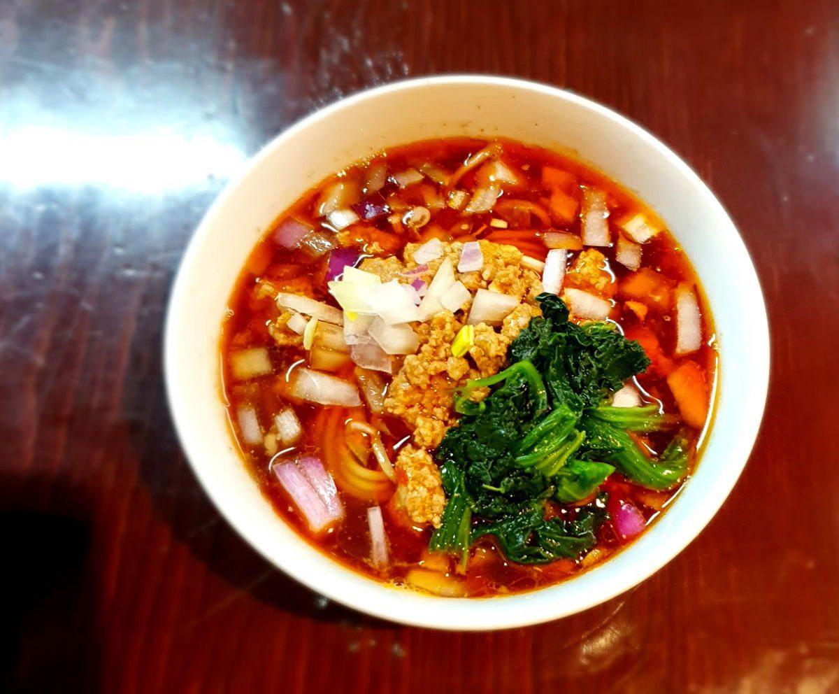 Tokyo Ramen Tour Stop 1 - Katsu-ura Tantamen - A spicy dish of ground pork with a layer of raiyu chilli oil