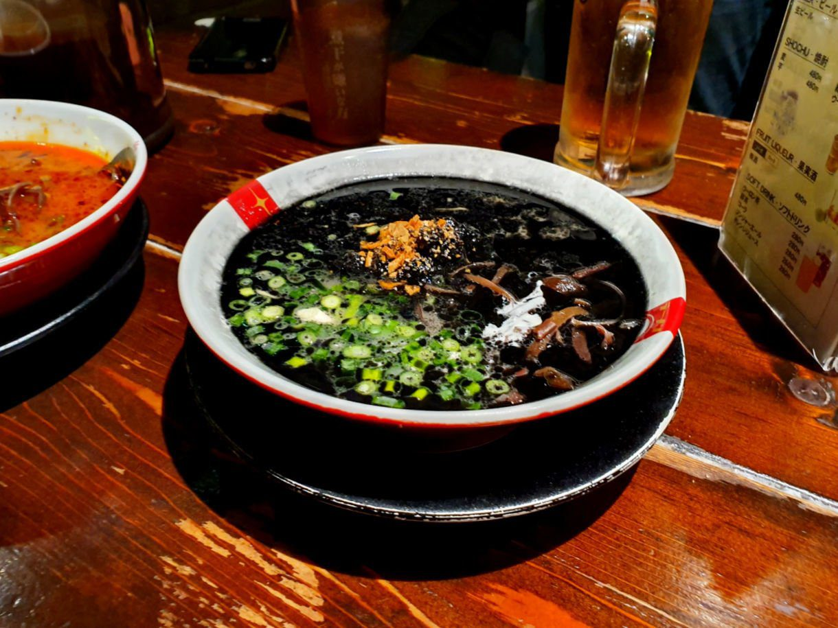 Tokyo Ramen Tour Stop 3 - Black Ramen Noodles Bowl (think jet black from squid ink and infused with garlic and yoghurt!