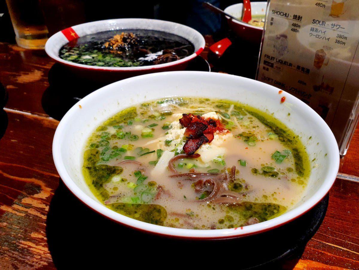 Tokyo Ramen Tour Stop 3 - Green Ramen Bowl (think Italian fusion ramen with cheese, bacon and fresh basil!)