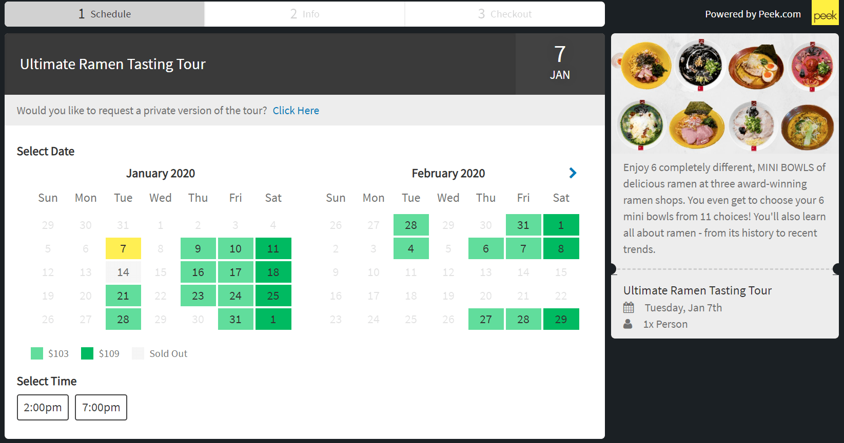 Tokyo Ramen Tours - Booking Tool on Website