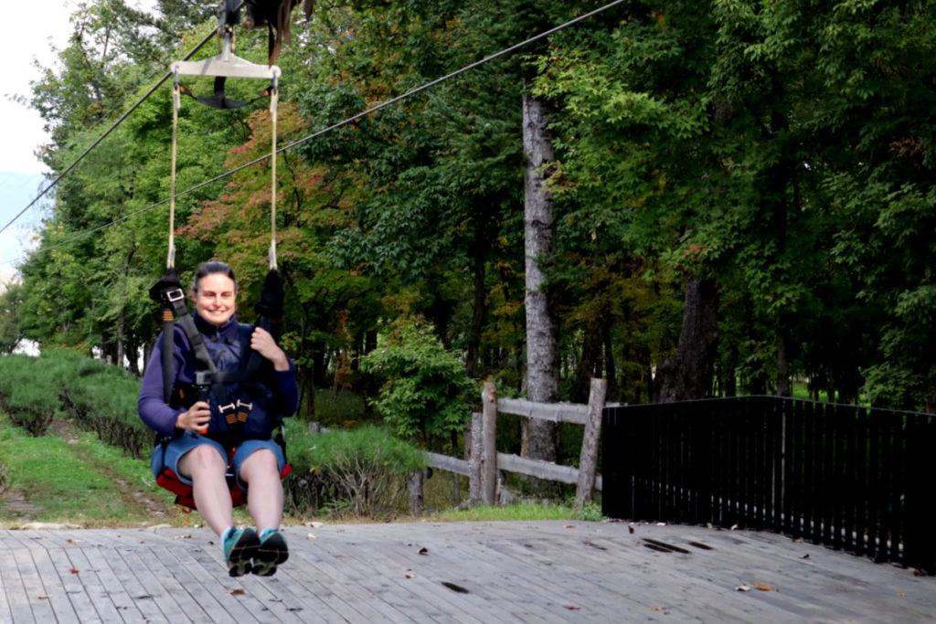 Anne arriving on Nami Island after a fun Zipline ride