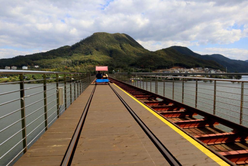 Crossing the bridge on the Gapyeong Rail Cars