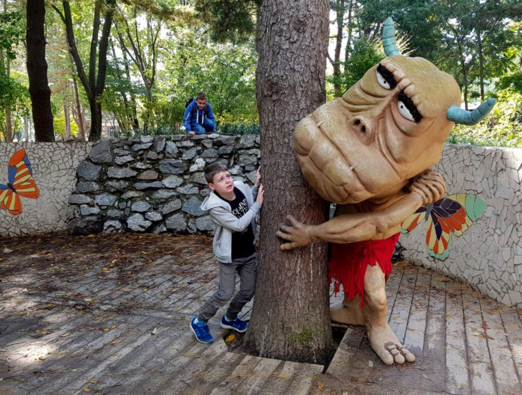 Playing with fun sculptures on Nami Island