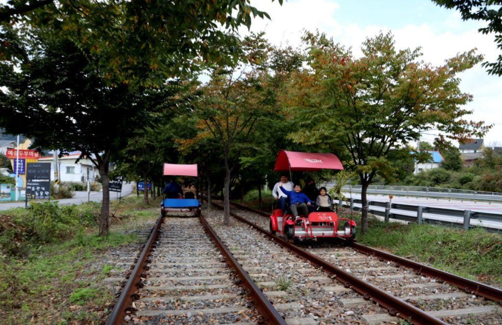 Families having fun on the Gapyeong Rail Cars